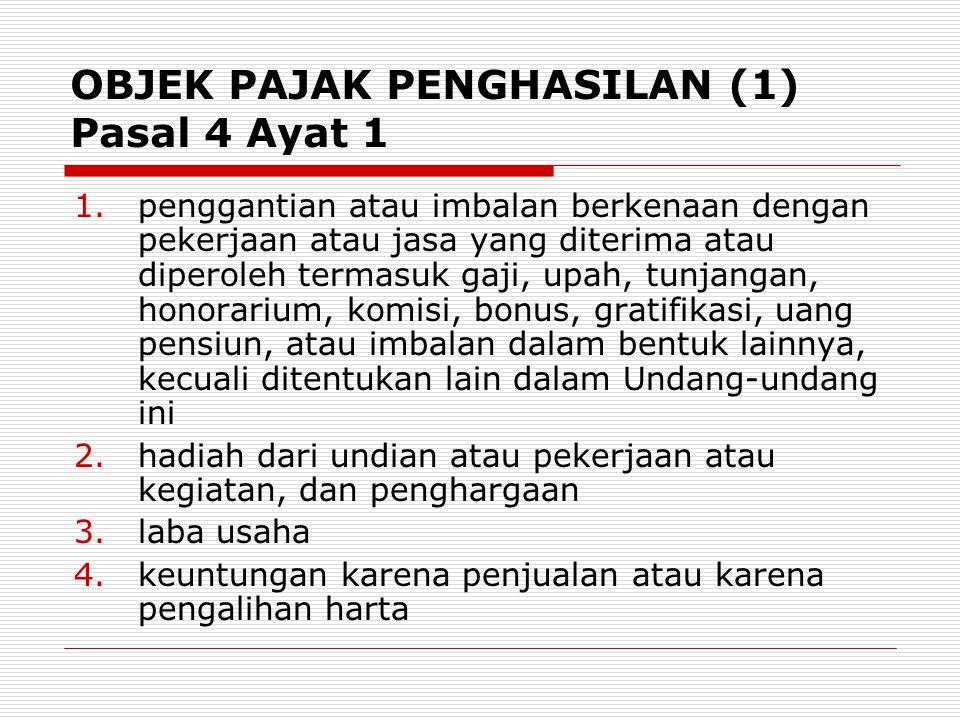 OBJEK PAJAK PENGHASILAN (1) Pasal 4 Ayat 1