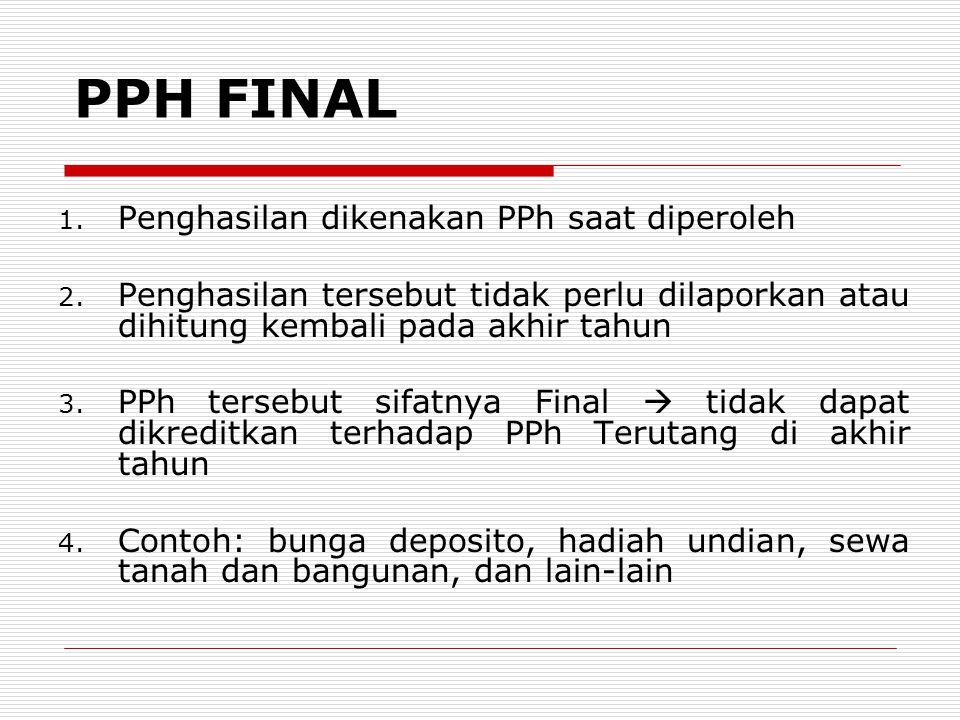 PPH FINAL Penghasilan dikenakan PPh saat diperoleh