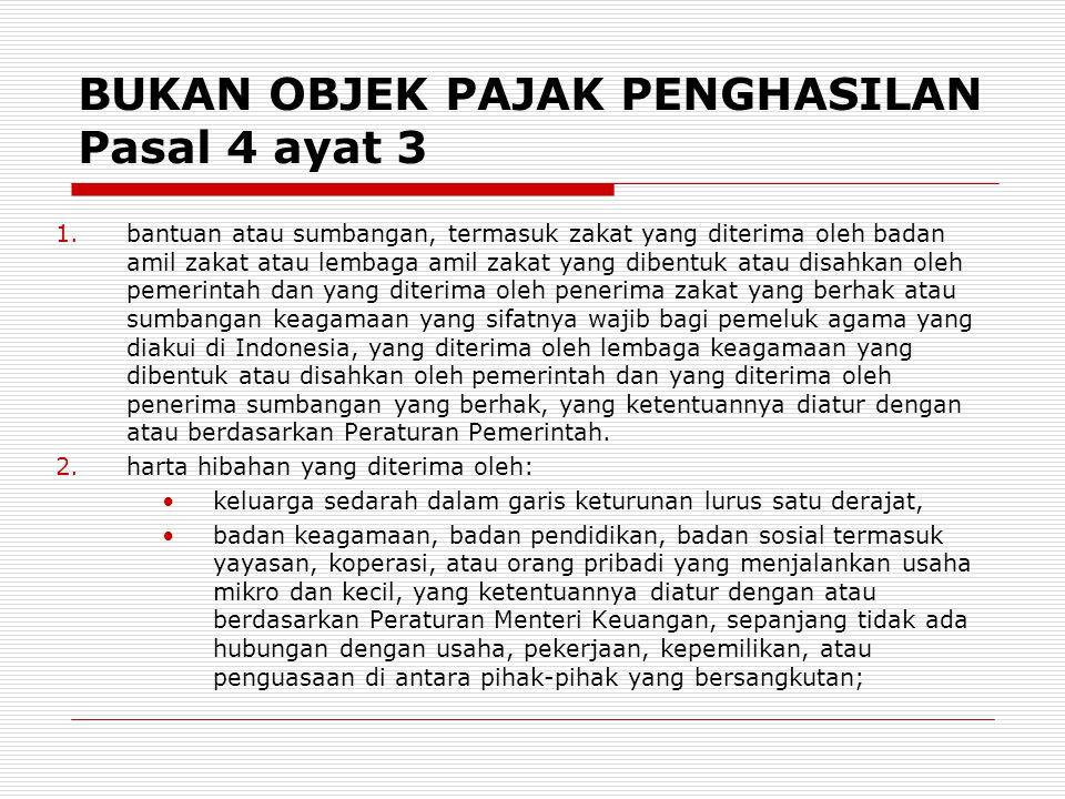 BUKAN OBJEK PAJAK PENGHASILAN Pasal 4 ayat 3