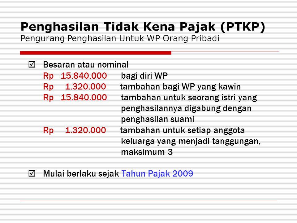 Penghasilan Tidak Kena Pajak (PTKP) Pengurang Penghasilan Untuk WP Orang Pribadi