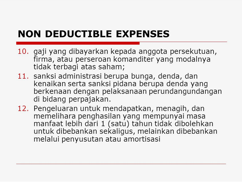 NON DEDUCTIBLE EXPENSES