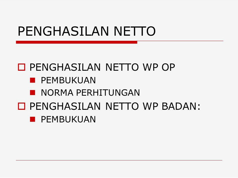 PENGHASILAN NETTO PENGHASILAN NETTO WP OP PENGHASILAN NETTO WP BADAN: