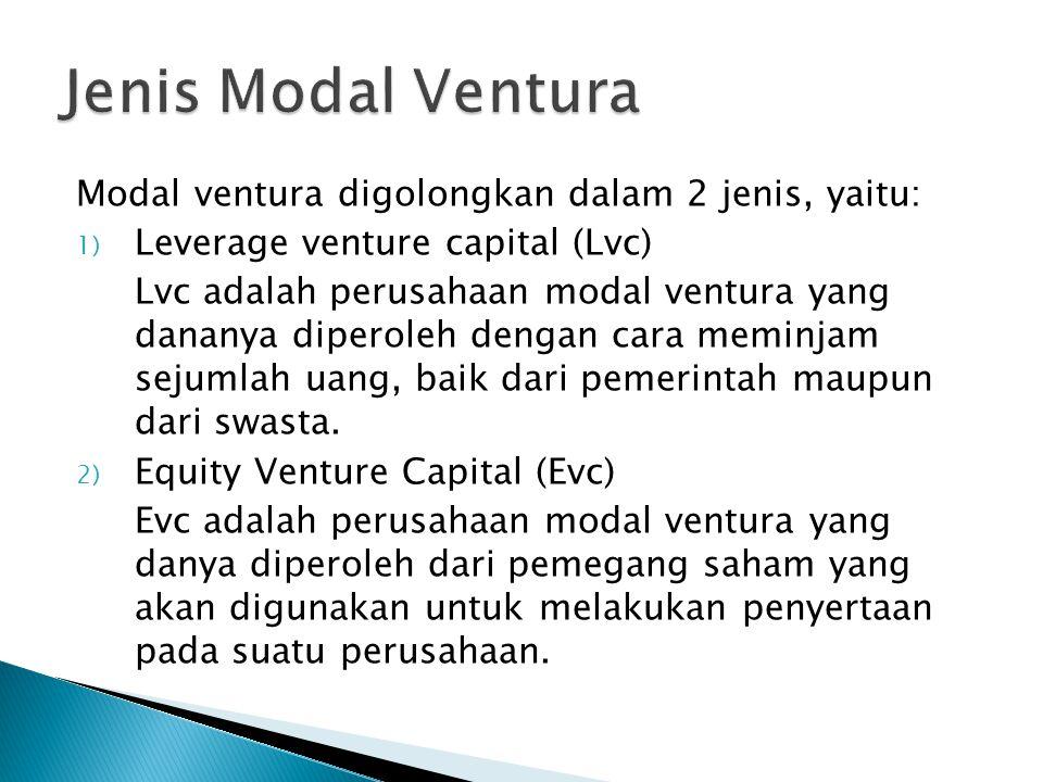 Jenis Modal Ventura Modal ventura digolongkan dalam 2 jenis, yaitu: