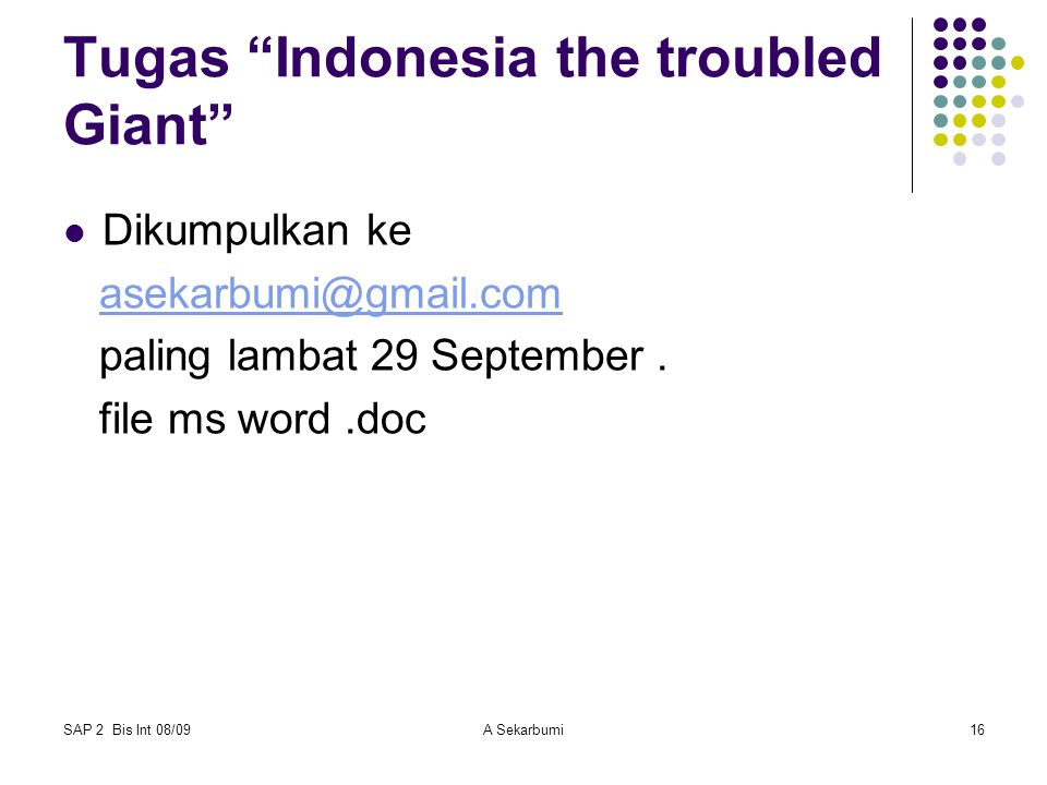 Tugas Indonesia the troubled Giant