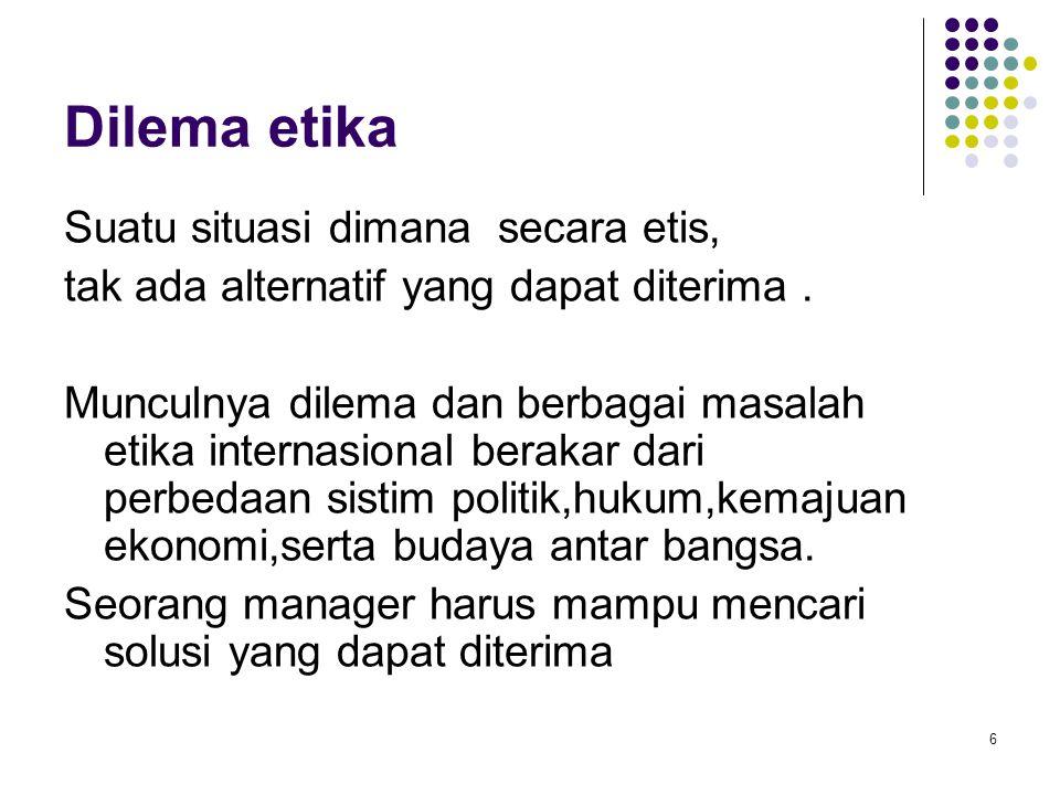Dilema etika Suatu situasi dimana secara etis,