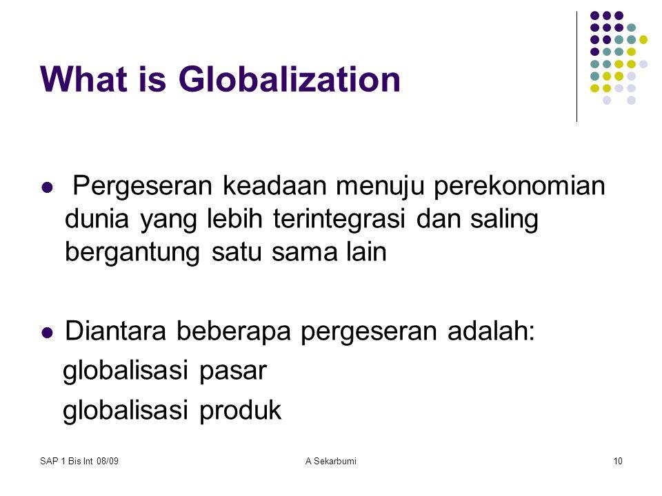 What is Globalization Pergeseran keadaan menuju perekonomian dunia yang lebih terintegrasi dan saling bergantung satu sama lain.