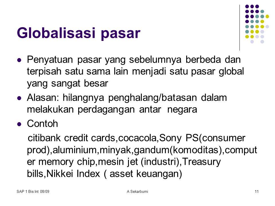Bisnis Internasional Globalisasi pasar.