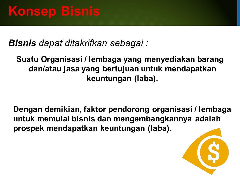 Konsep Bisnis Bisnis dapat ditakrifkan sebagai :