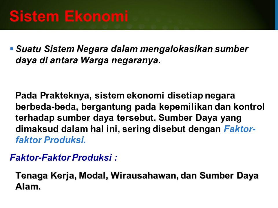 Sistem Ekonomi Suatu Sistem Negara dalam mengalokasikan sumber daya di antara Warga negaranya.