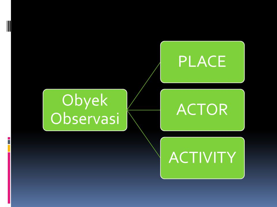 Obyek Observasi PLACE ACTOR ACTIVITY