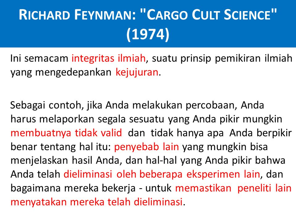 Richard Feynman: Cargo Cult Science (1974)