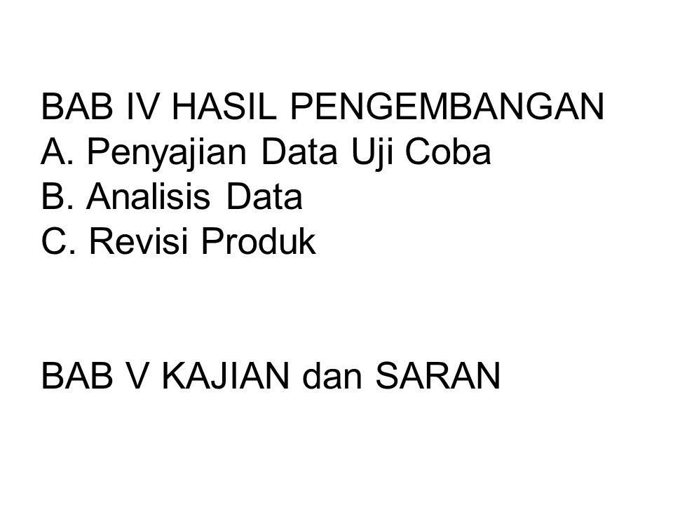 BAB IV HASIL PENGEMBANGAN A. Penyajian Data Uji Coba B.