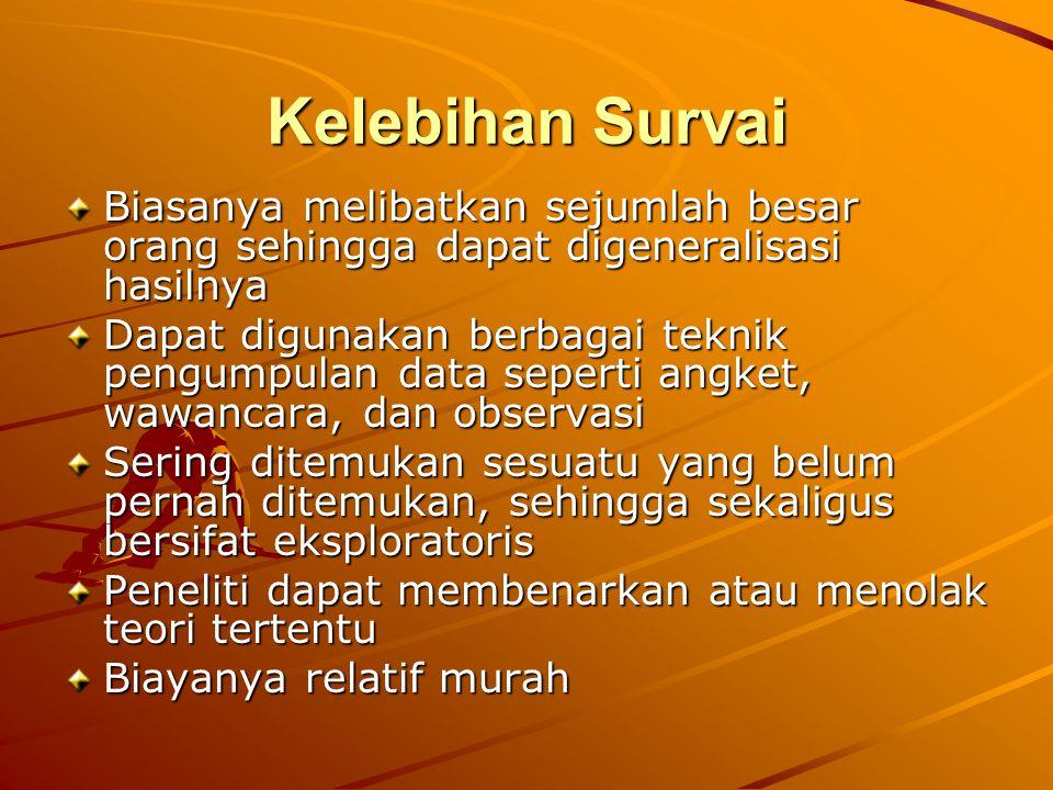 Kelebihan Survai Biasanya melibatkan sejumlah besar orang sehingga dapat digeneralisasi hasilnya.