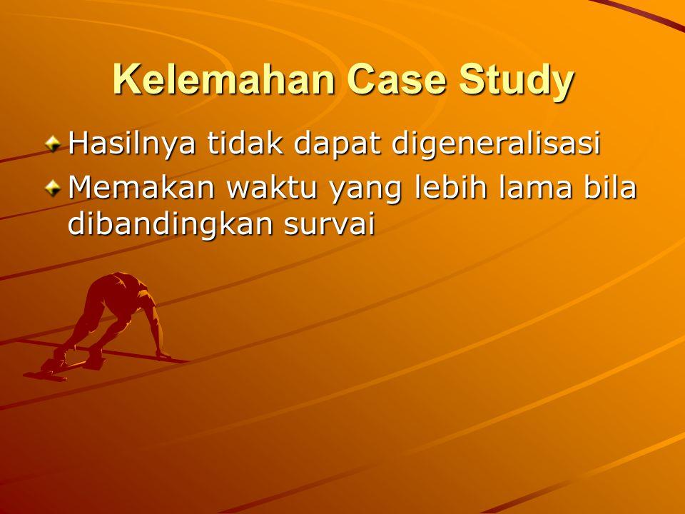 Kelemahan Case Study Hasilnya tidak dapat digeneralisasi