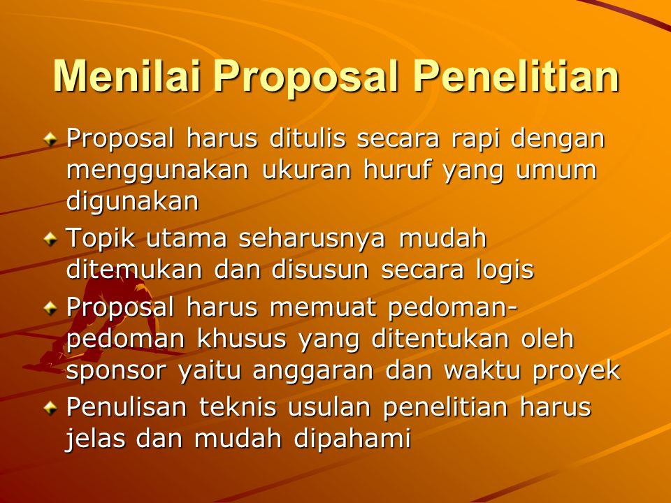 Menilai Proposal Penelitian