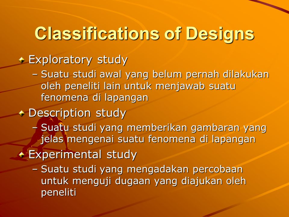 Classifications of Designs