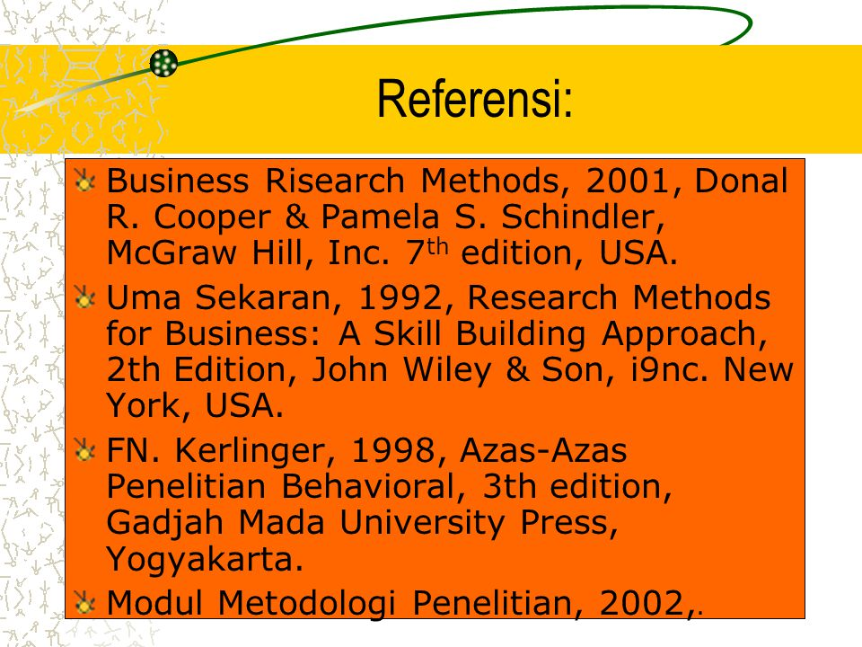 Referensi: Business Risearch Methods, 2001, Donal R. Cooper & Pamela S. Schindler, McGraw Hill, Inc. 7th edition, USA.