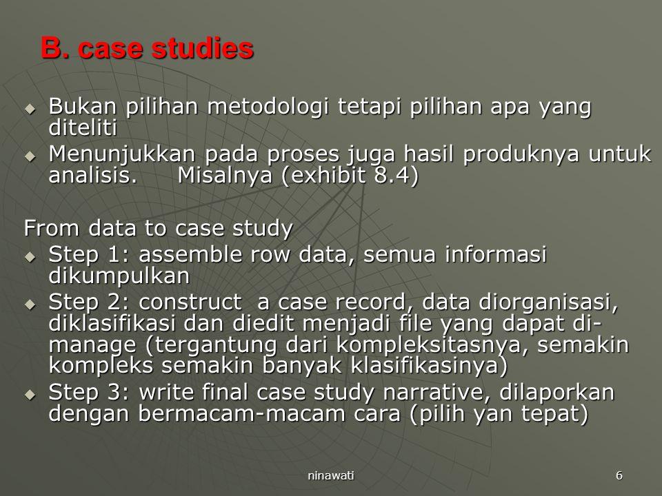 B. case studies Bukan pilihan metodologi tetapi pilihan apa yang diteliti.