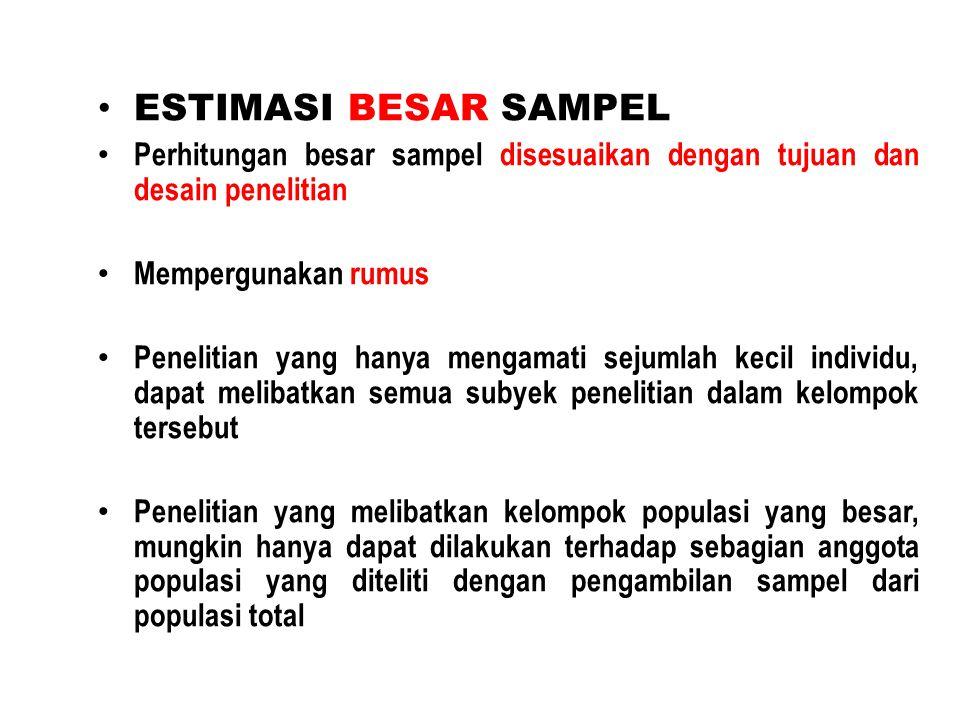 ESTIMASI BESAR SAMPEL Perhitungan besar sampel disesuaikan dengan tujuan dan desain penelitian. Mempergunakan rumus.