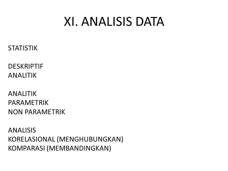 XI. ANALISIS DATA STATISTIK DESKRIPTIF ANALITIK PARAMETRIK