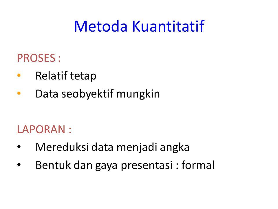 Metoda Kuantitatif PROSES : Relatif tetap Data seobyektif mungkin