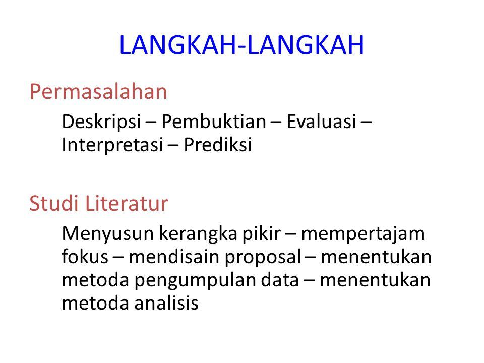 LANGKAH-LANGKAH Permasalahan Studi Literatur