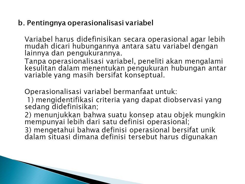 b. Pentingnya operasionalisasi variabel