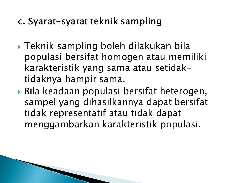 c. Syarat-syarat teknik sampling