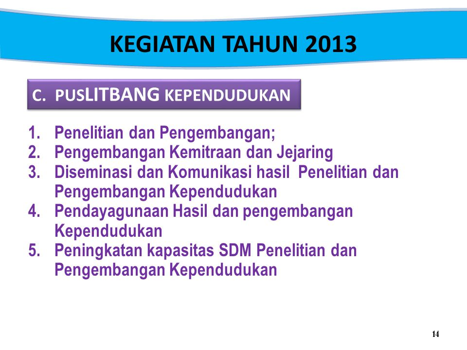 KEGIATAN TAHUN 2013 C. PUSLITBANG KEPENDUDUKAN