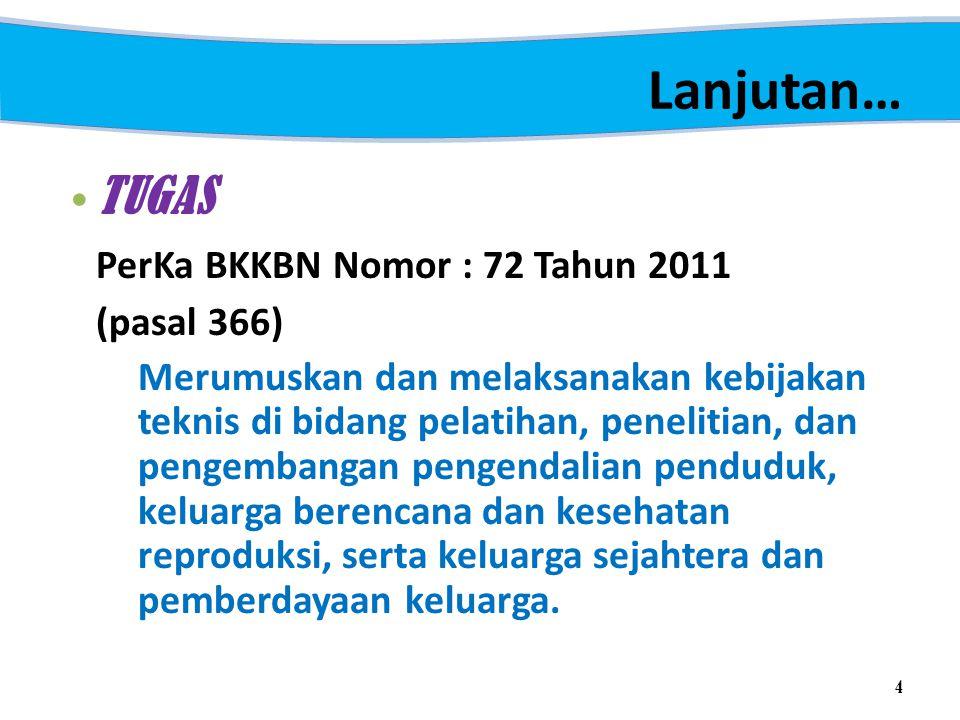 Lanjutan… TUGAS PerKa BKKBN Nomor : 72 Tahun 2011 (pasal 366)