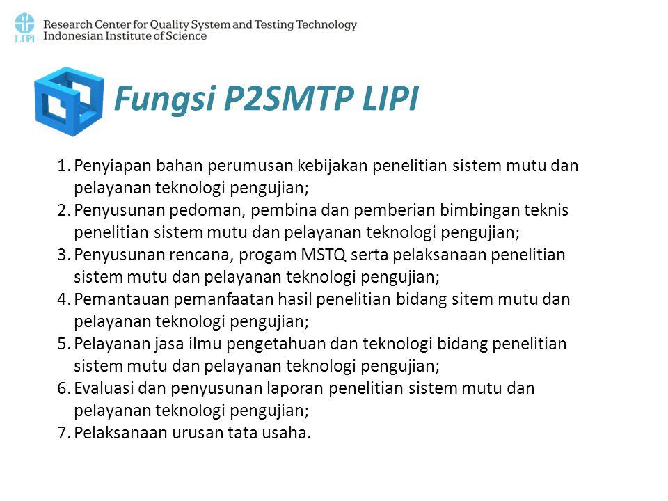 Fungsi P2SMTP LIPI Penyiapan bahan perumusan kebijakan penelitian sistem mutu dan pelayanan teknologi pengujian;