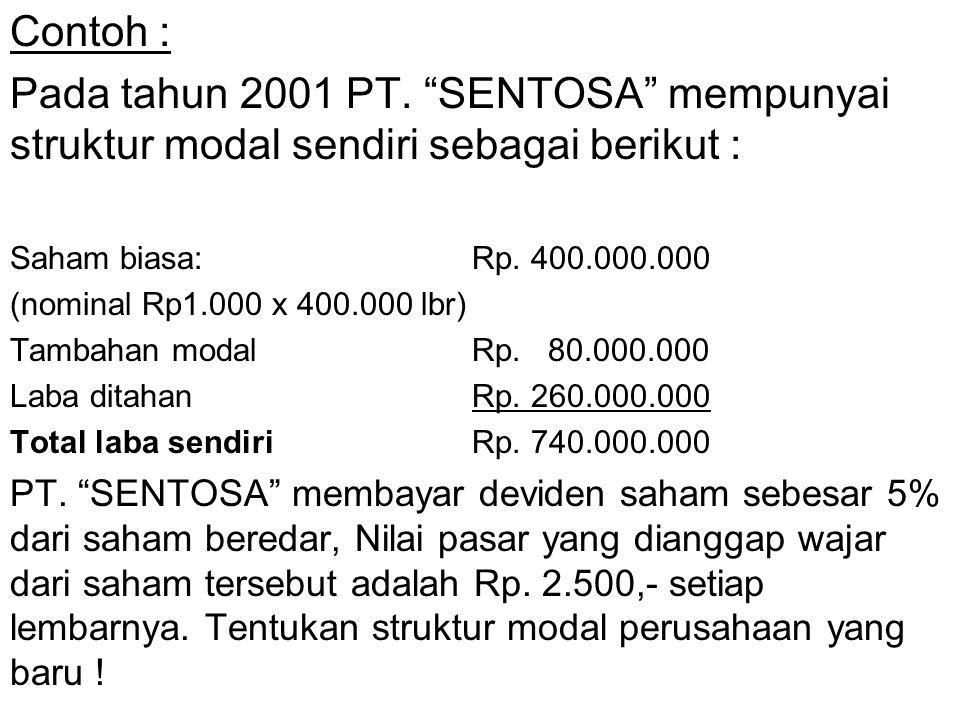 Contoh : Pada tahun 2001 PT. SENTOSA mempunyai struktur modal sendiri sebagai berikut : Saham biasa: Rp. 400.000.000.