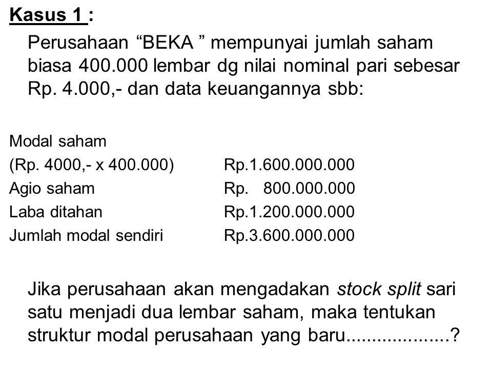 Kasus 1 : Perusahaan BEKA mempunyai jumlah saham biasa 400.000 lembar dg nilai nominal pari sebesar Rp. 4.000,- dan data keuangannya sbb: