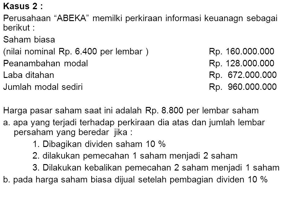 Kasus 2 : Perusahaan ABEKA memilki perkiraan informasi keuanagn sebagai berikut : Saham biasa.