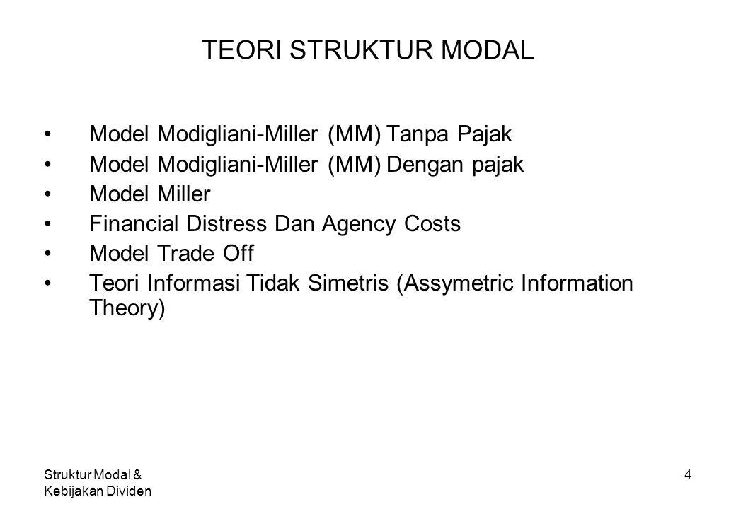 TEORI STRUKTUR MODAL Model Modigliani-Miller (MM) Tanpa Pajak