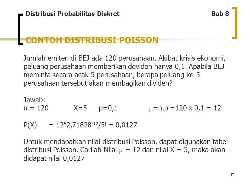 CONTOH DISTRIBUSI POISSON