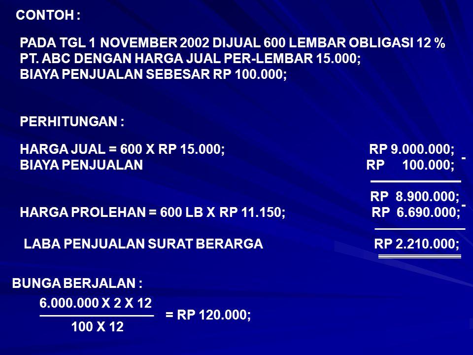 CONTOH : PADA TGL 1 NOVEMBER 2002 DIJUAL 600 LEMBAR OBLIGASI 12 % PT. ABC DENGAN HARGA JUAL PER-LEMBAR 15.000;