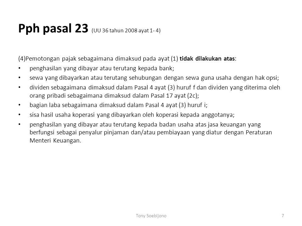 Pph pasal 23 (UU 36 tahun 2008 ayat 1- 4)