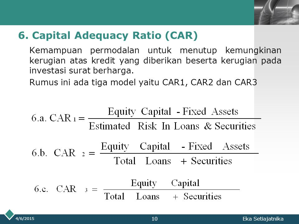 6. Capital Adequacy Ratio (CAR)