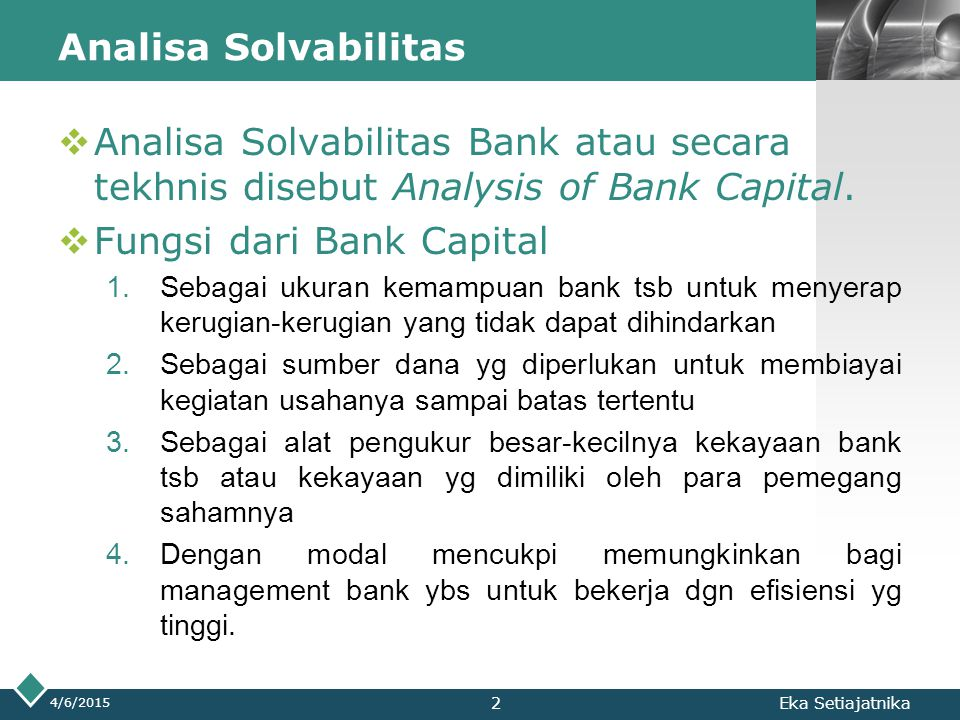 Fungsi dari Bank Capital