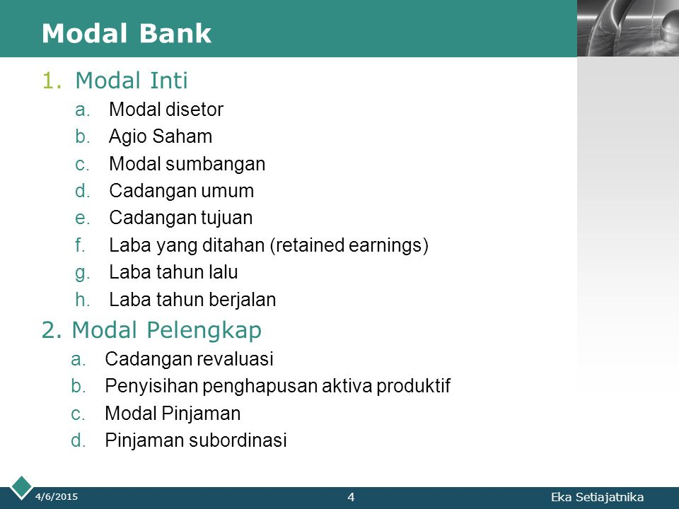 Modal Bank Modal Inti 2. Modal Pelengkap Modal disetor Agio Saham