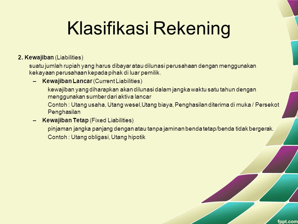 Klasifikasi Rekening 2. Kewajiban (Liabilities)