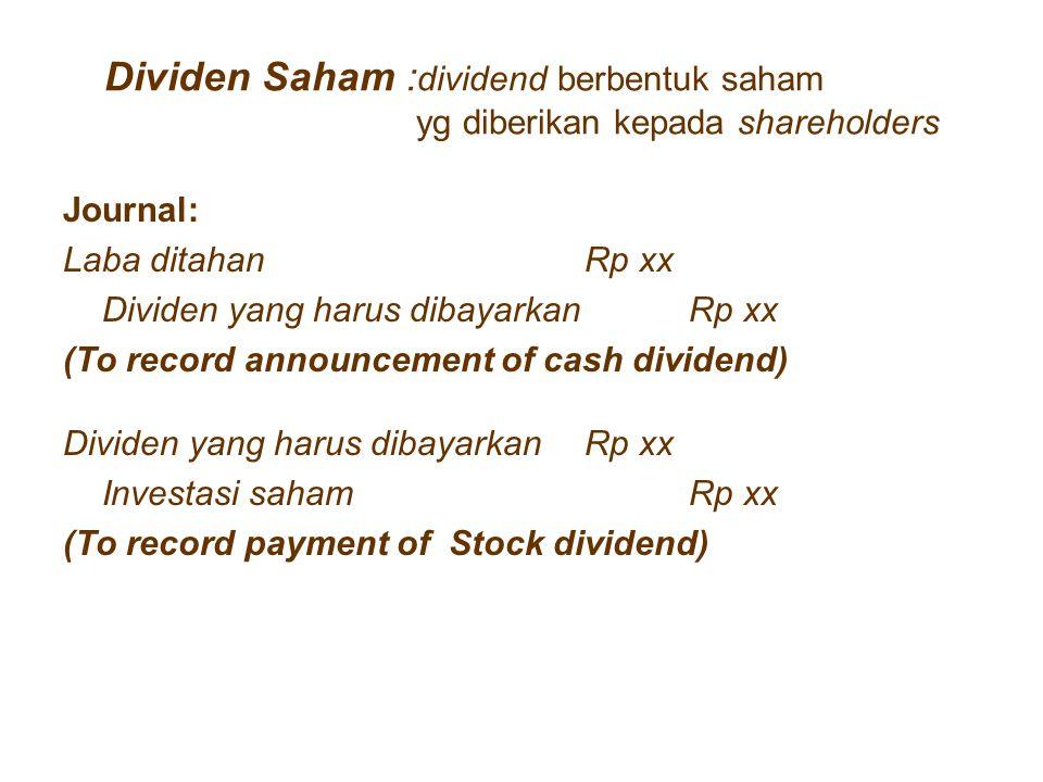 Dividen Saham :dividend berbentuk saham