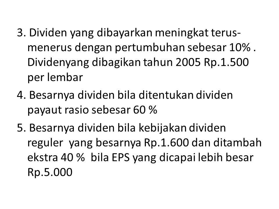 3. Dividen yang dibayarkan meningkat terus-menerus dengan pertumbuhan sebesar 10% .