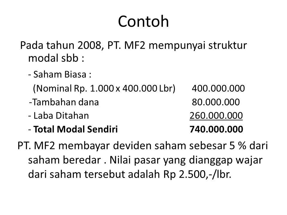 Contoh Pada tahun 2008, PT. MF2 mempunyai struktur modal sbb :