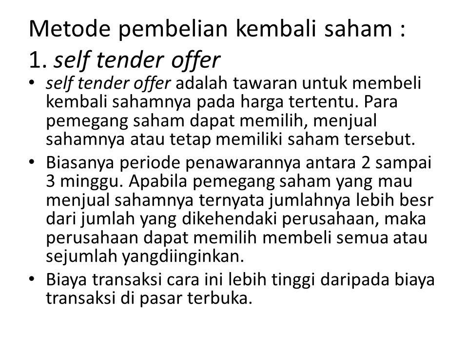 Metode pembelian kembali saham : 1. self tender offer