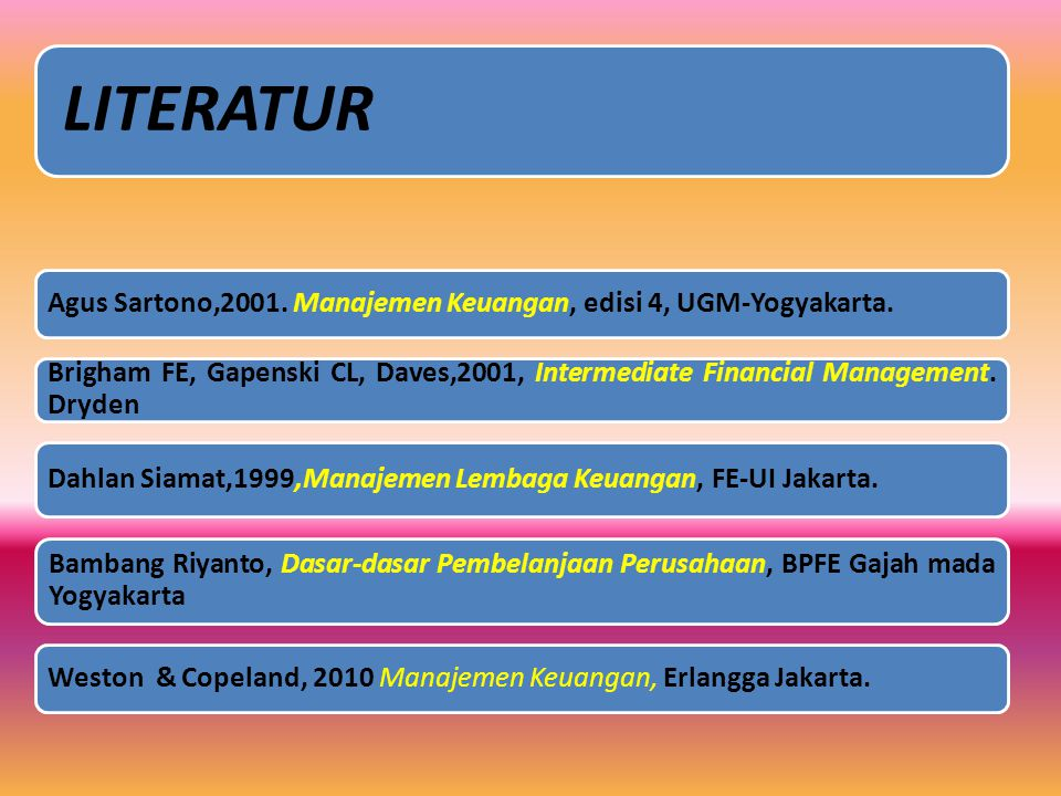 Agus Sartono,2001. Manajemen Keuangan, edisi 4, UGM-Yogyakarta.