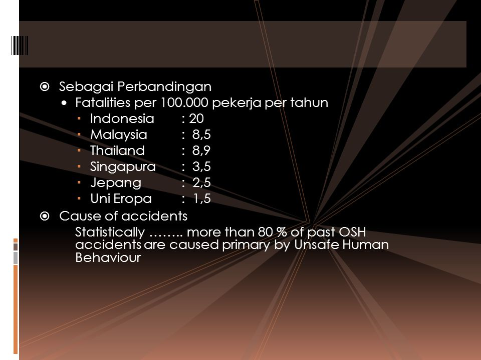 Sebagai Perbandingan Fatalities per 100.000 pekerja per tahun. Indonesia : 20. Malaysia : 8,5. Thailand : 8,9.