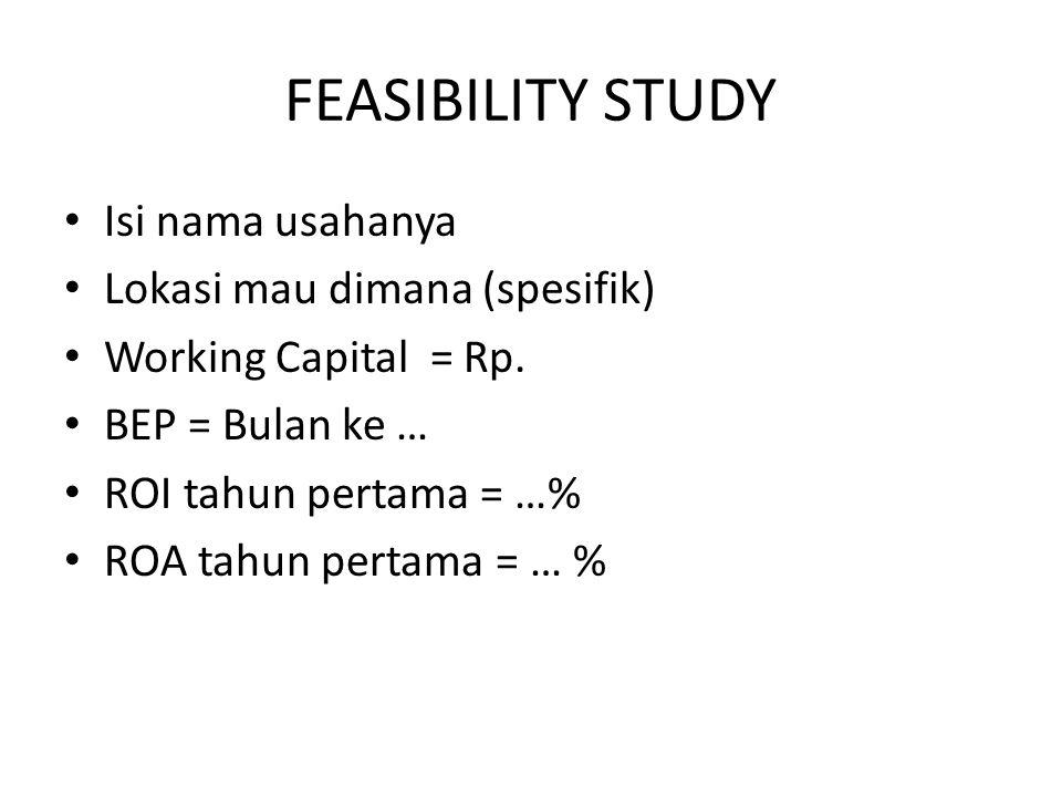 FEASIBILITY STUDY Isi nama usahanya Lokasi mau dimana (spesifik)