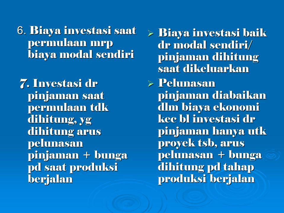 6. Biaya investasi saat permulaan mrp biaya modal sendiri 7